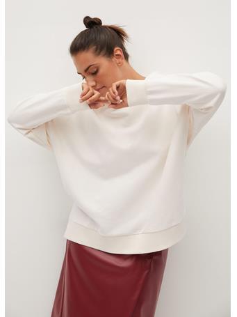 Violeta by MANGO  - Peace Hoodie Sweatshirt NATURAL WHITE