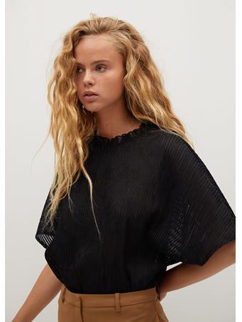MANGO - Kalista Pleated T-Shirt BLACK