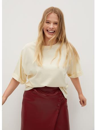 Violeta by MANGO - Vainila Rolled Sleeves T-Shirt YELLOW