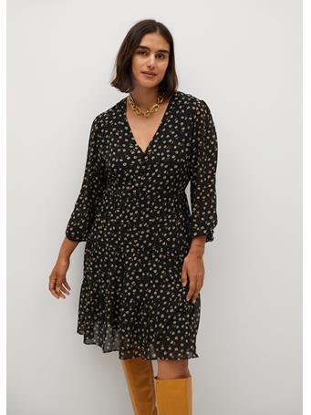 Violeta by MANGO - Paloma7 Print Dress BLACK