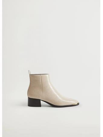 MANGO - Pointed Heel Ankle Boot NATURAL WHITE