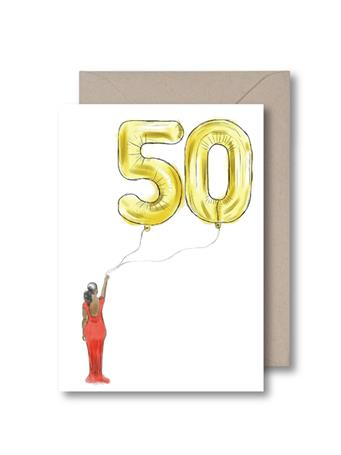 KITSCH NOIR - Fifty Balloon Birthday Card NO COLOR