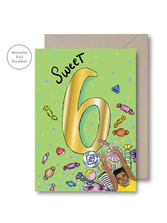 KITSCH NOIR - Green Sixth Birthday Card NO COLOR