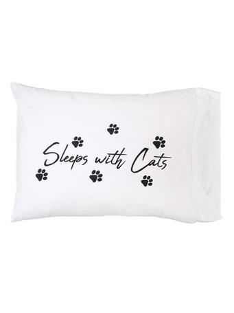 C&F - Sleeps With Cats Pillowcase WHITE