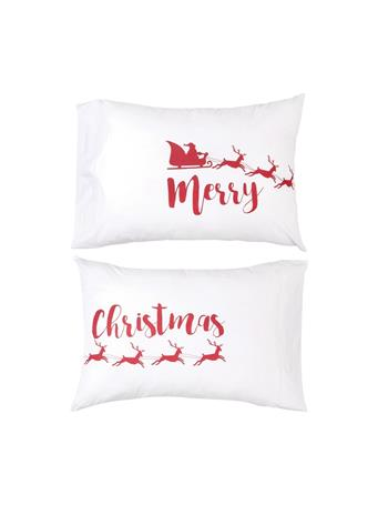 C&F - Merry Christmas Pillowcase Set WHITE