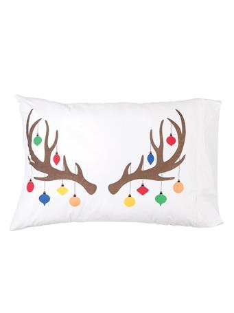 C&F - Reindeer Ornament Pillowcase WHITE