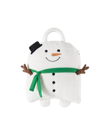 C&F - Snowman Pillow Blanket WHITE