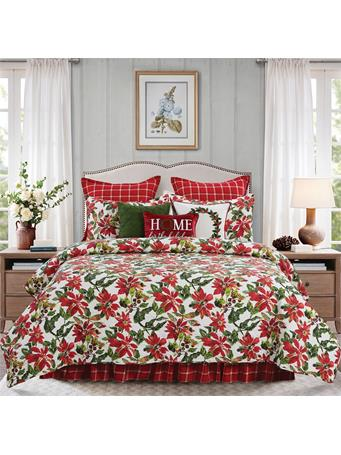 C&F - Poinsettia Berries Quilt Set WHITE