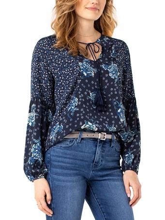 LIVERPOOL JEANS - Print Blocked Tie Front Shirred Blouse DITZY FLORAL MIX
