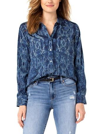 LIVERPOOL JEANS - Button Up Woven Blouse SNAKESKIN PRINT