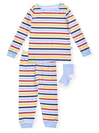 SLEEP ON IT - Fitted Stripe Pajamas With Socks (12M-24M) NOVELTY