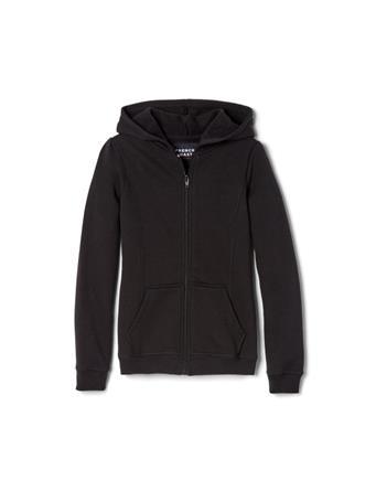 FRENCH TOAST - Zip Front Fleece Hoodie BLACK
