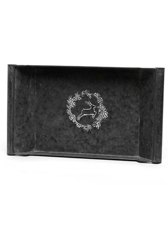 MERAVIC - Metal Tray with White Embossed Deer and Wreath (20