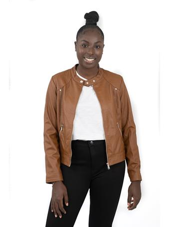 DELIA'S - Vegan Leather Jacket with Shoulder Detail LUGGAGE