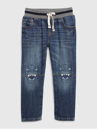 GAP - Toddler Pull-On Graphic Slim Jeans MED WASH