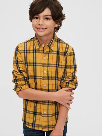 GAP - Kids Plaid Button-Up Shirt YELLOW PLAID