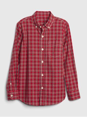 GAP - Kids Plaid Button-Up Shirt NAVY RED PLAID