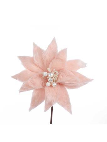 KURT ADLER - Pink Fur Poinsettia MILLENIAL PINK