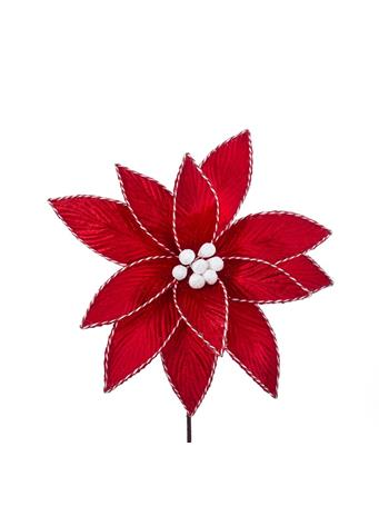 KURT ADLER - Red Poinsettia With Trim RED/ PATTERN