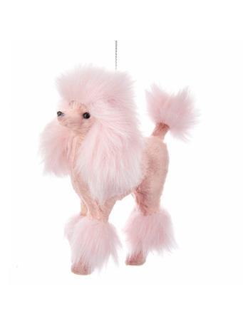 KURT ADLER - Furry Pink Poodle Ornament PINK