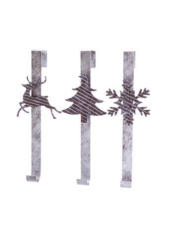 KURT ADLER - Snowflake, Reindeer and Christmas Tree Wreath Hangers METAL