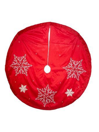 KURT ADLER - Snowflake Embroidered Pleated Tree Skirt RED