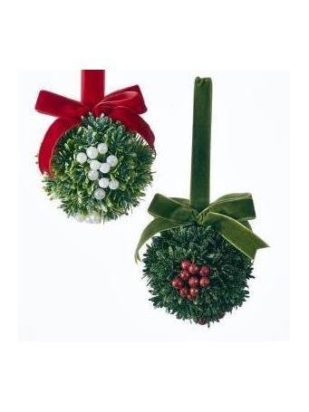 KURT ADLER - Christmas Kisses Mistletoe Ball Ornament GREEN
