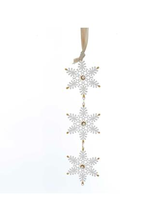 KURT ADLER - White and Gold Snowflake Cluster Ornament GOLD