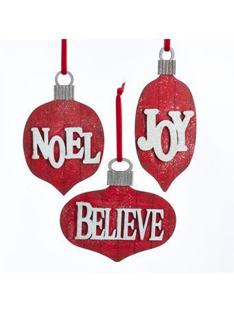 KURT ADLER - Red Glittered Joy, Noel and Believe Word Ornaments RED