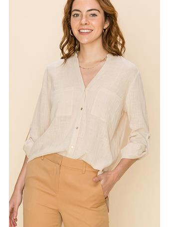 FAVLUX - Roll Up Sleeve Blouse  SAND