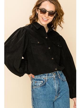 HYFVE - Puff Sleeve Front Button Up Shirt BLACK