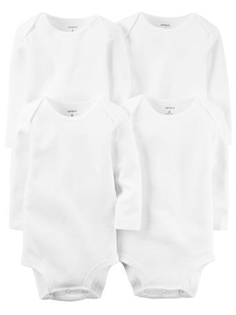 CARTER'S - 4 Pack Long Sleeve Basic Bodysuits WHITE