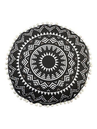 OUTDOOR DECOR - Tibal Circular Outdoor Decorative Cushion BLACK