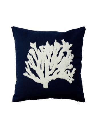 MARINER COTTON - Coastal Coral Fan Decorative Pillow NAVY