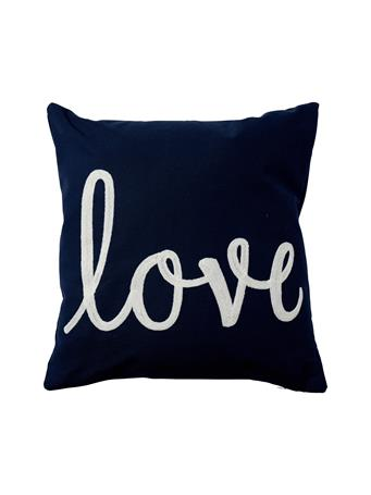 MARINER COTTON - Love Embroidered Decorative Pillow NAVY