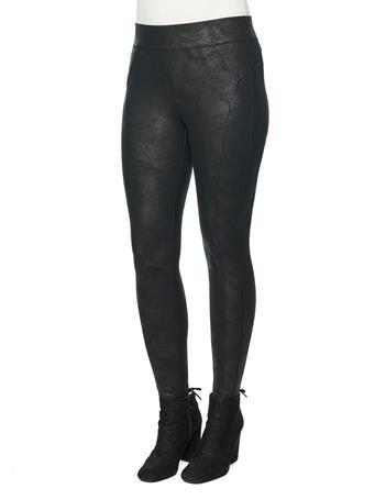 DEMOCRACY - Crackle Coated Glider Black Leggings BLACK