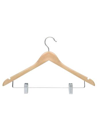STORAGE ESSENTIALS - Wood Shirt Hanger with Clips - 3 Piece Set - Natural NATURAL