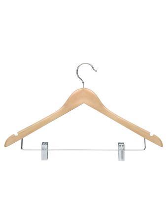STORAGE ESSENTIALS - Wood Shirt Hanger with Clips - 3 Piece Set - Natural NATURAL
