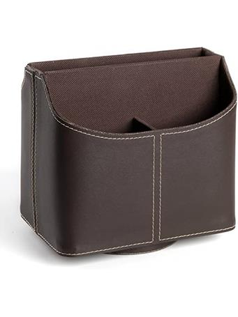 Faux Leather Spinning Remote Control Organizer BROWN