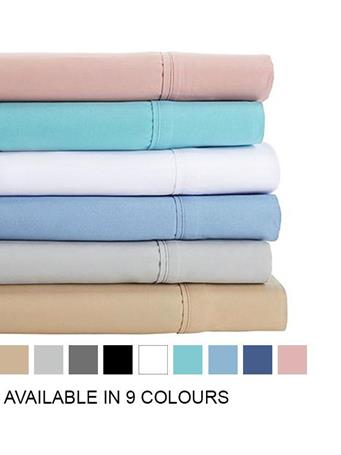 TOWN HOUSE - Microfiber Solid Sheet Set With Pillow Cases ANGEL BLUE