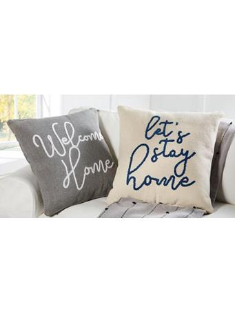 MUD PIE - Let's Stay Home & Welcome Home Decorative Pillows - Assorted Styles GREY