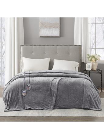 BEAUTYREST - Electric Micro Fleece Heated Blanket - Grey GREY