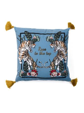 MAISON LUXE - Race to the Top Tiger Decorative Pillow with Tassels TEAL