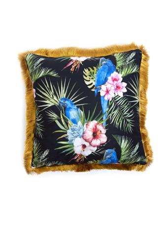 MAISON LUXE - Hibiscus Decorative Pillow with Fringe BLACK