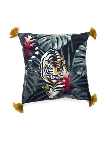 MAISON LUXE - Jungle Tiger Decorative Pillow with Tassels BLACK