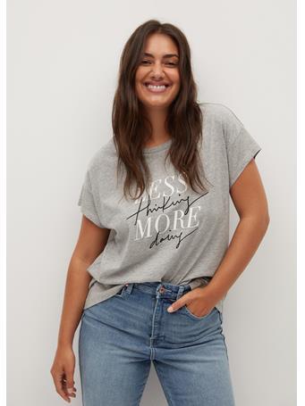Violeta by MANGO - Less T-Shirt LT PASTEL GREY