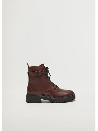 MANGO - Beatle Ankle Boots DARK RED