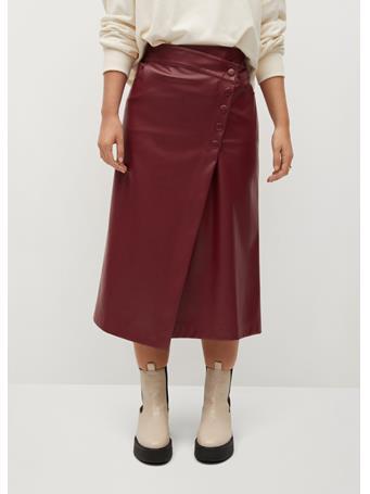 Violeta by MANGO - Grana Skirt DARK RED