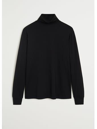 MANGO - Turtleneck Cotton T-shirt BLACK