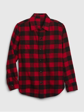 GAP - Long Sleeve Flannel Shirt RED PLAID